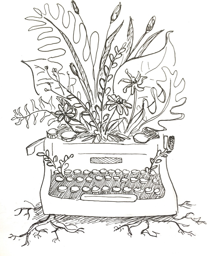 """Jocelyn Boville  (@penofjocelynboville)  This year I followed a set of prompt words from #mosseryinktober and the word for the day was """"write."""" I wanted to illustrate how writing can bring life, growth, and flourishing. One of the hardest parts about drawing with pen is that the artwork can feel very flat, so I am trying to push myself this year to add depth to my work. I've also been thinking a lot more about the meaning of the daily prompt words and striving to create interesting and thought provoking artwork."""