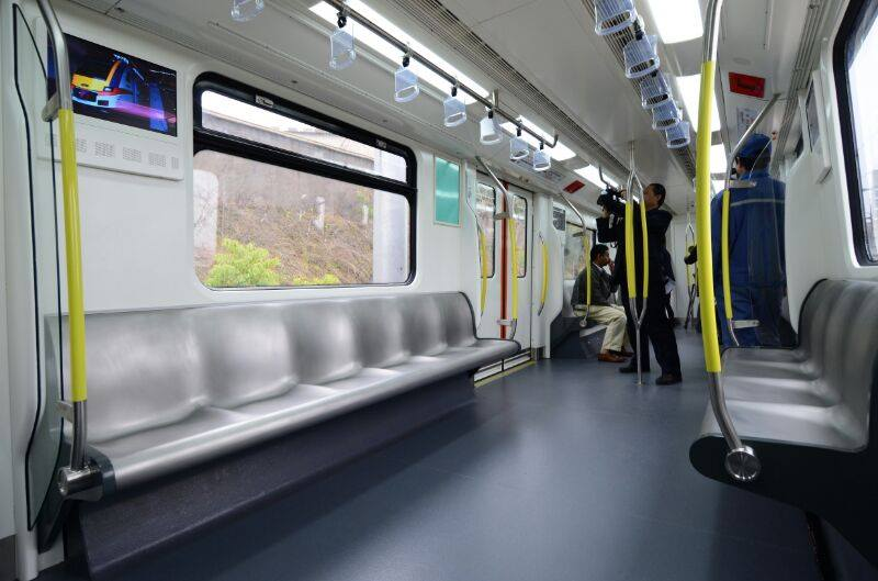 Theprototype of the newly released LRVs in Ampang, Kuala Lumpur, Malaysia