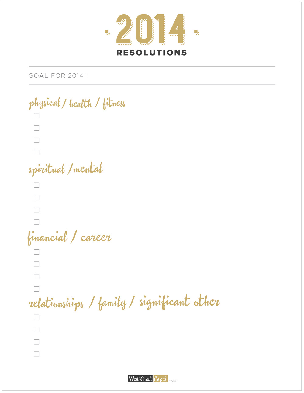 Free New Years Resolutions Printable