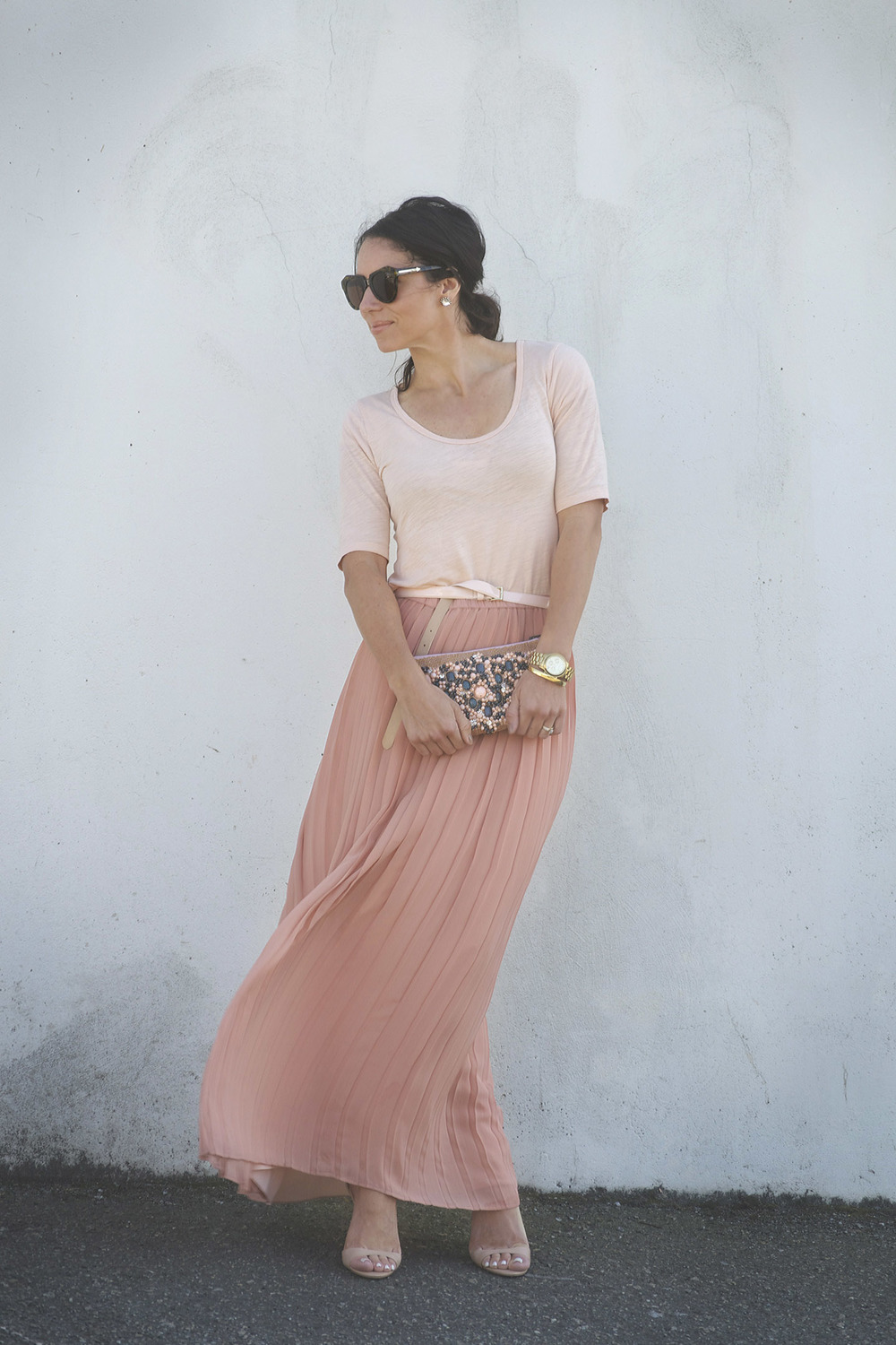 pink Pleated Skirt West Coast Capri