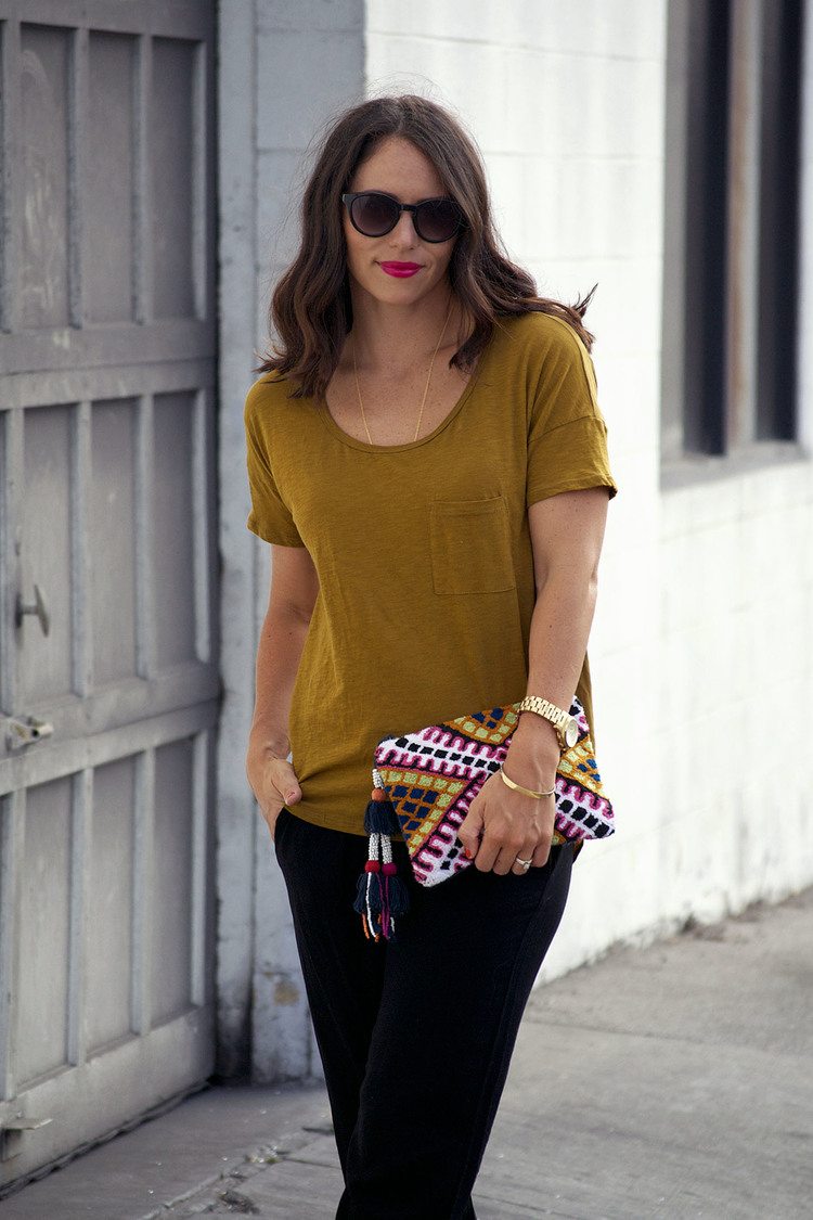 anthropologie khaki tee