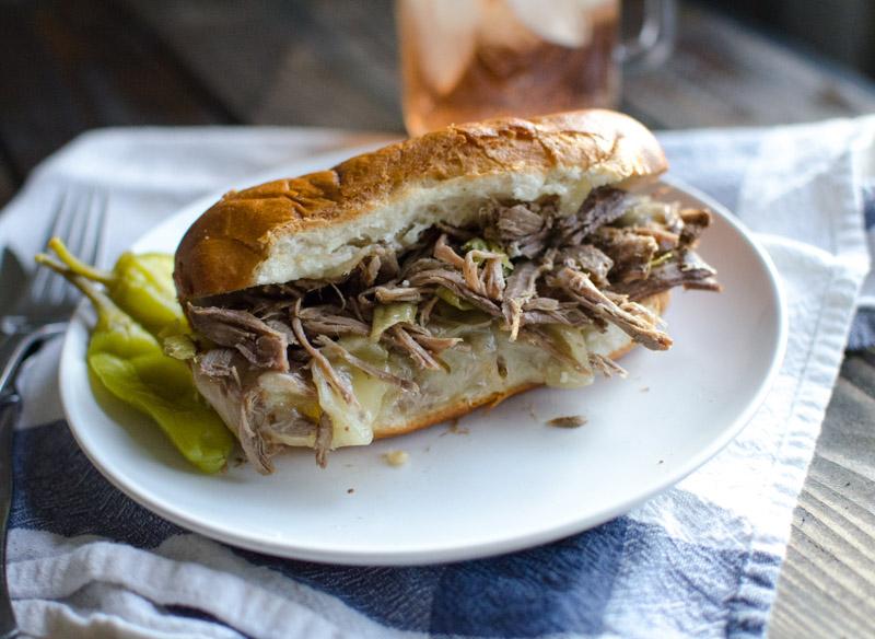 slow-cooker italian beef sandwich
