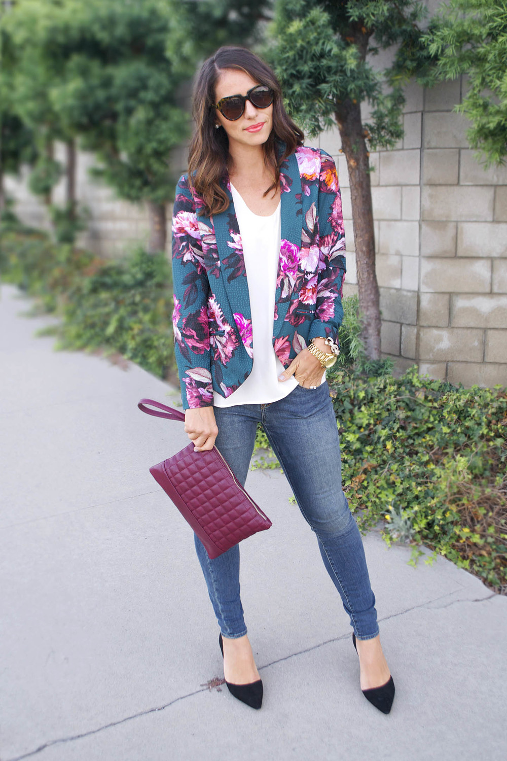 anthropologie floral blazer