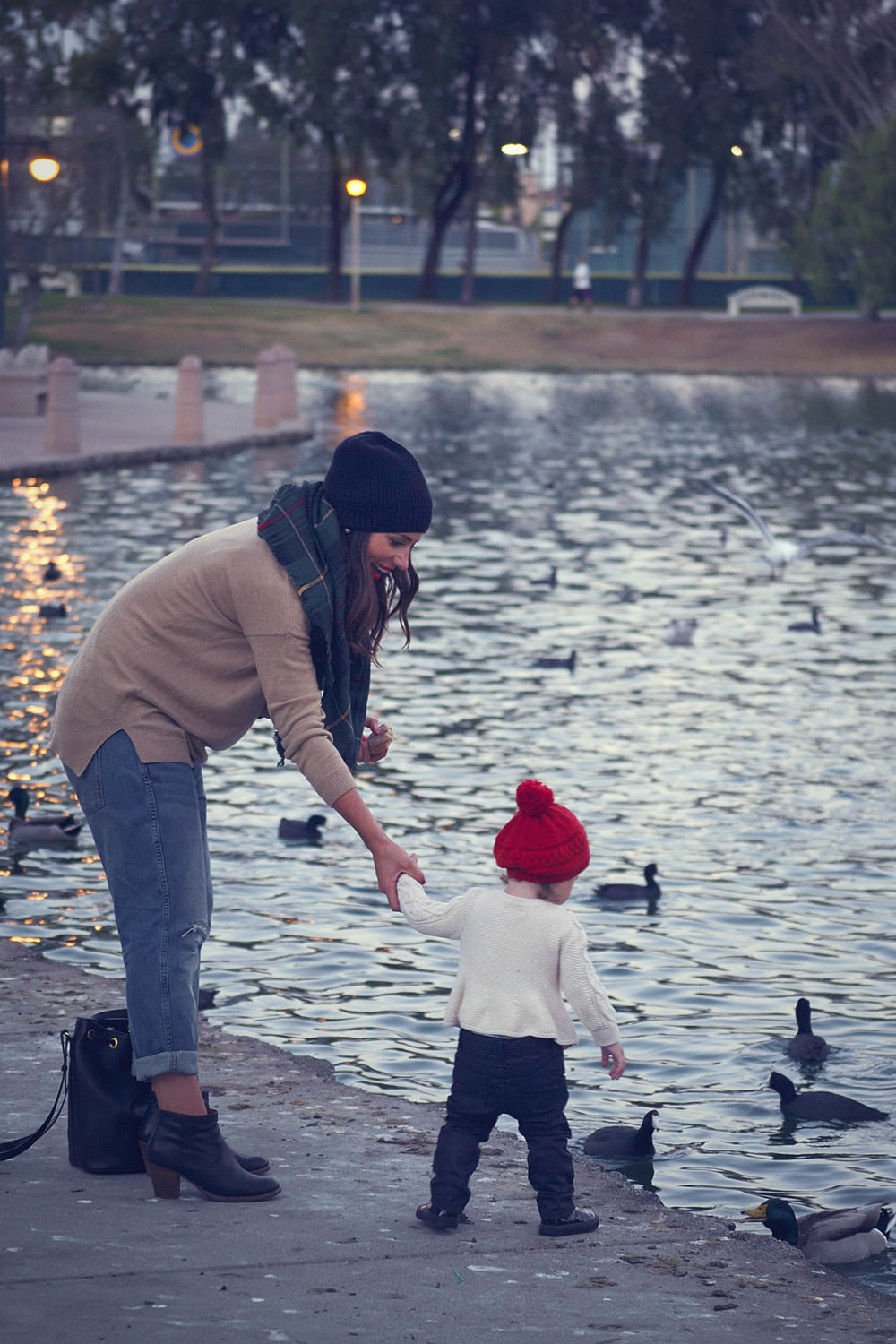 feeding the ducks at the park