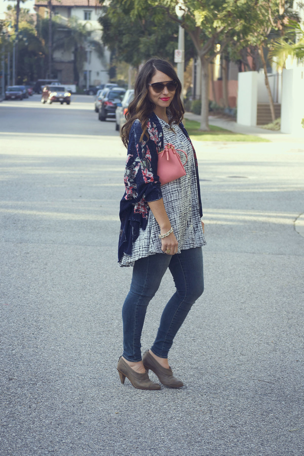 Anthropologie sweater and patterned blouse