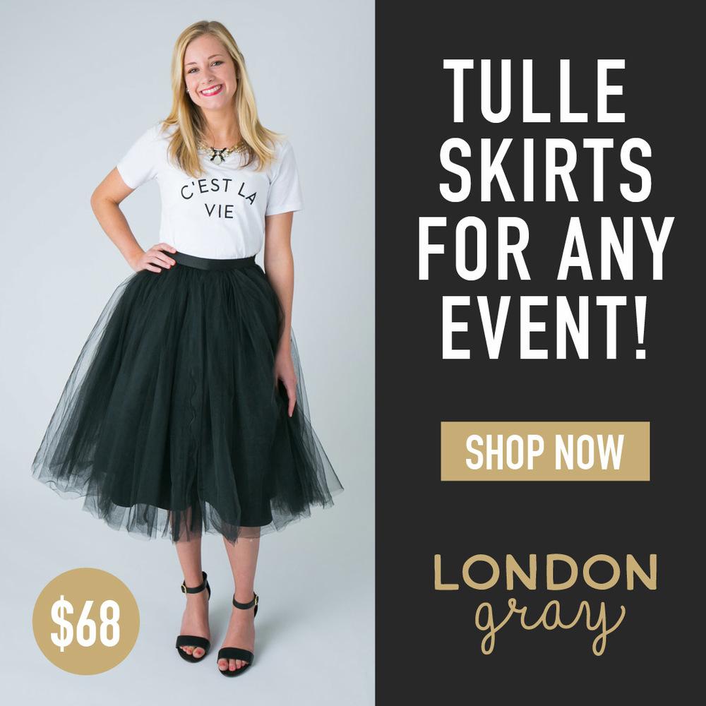 London Gray Tulle Skirt