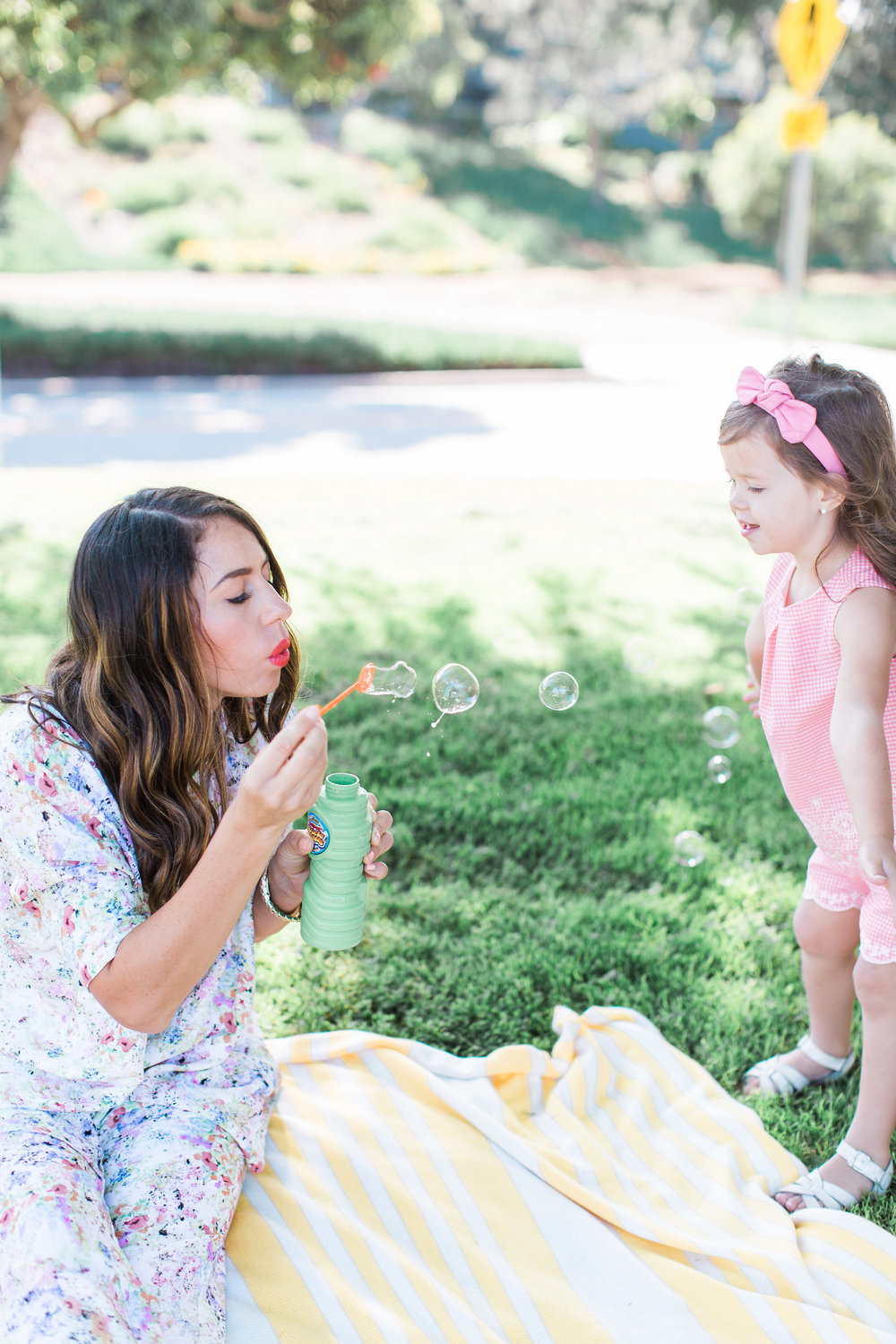 blowing bubbles with kids