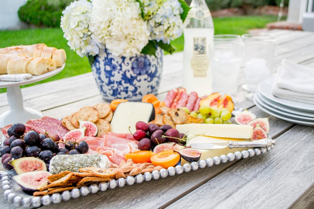outdoor party cheese board