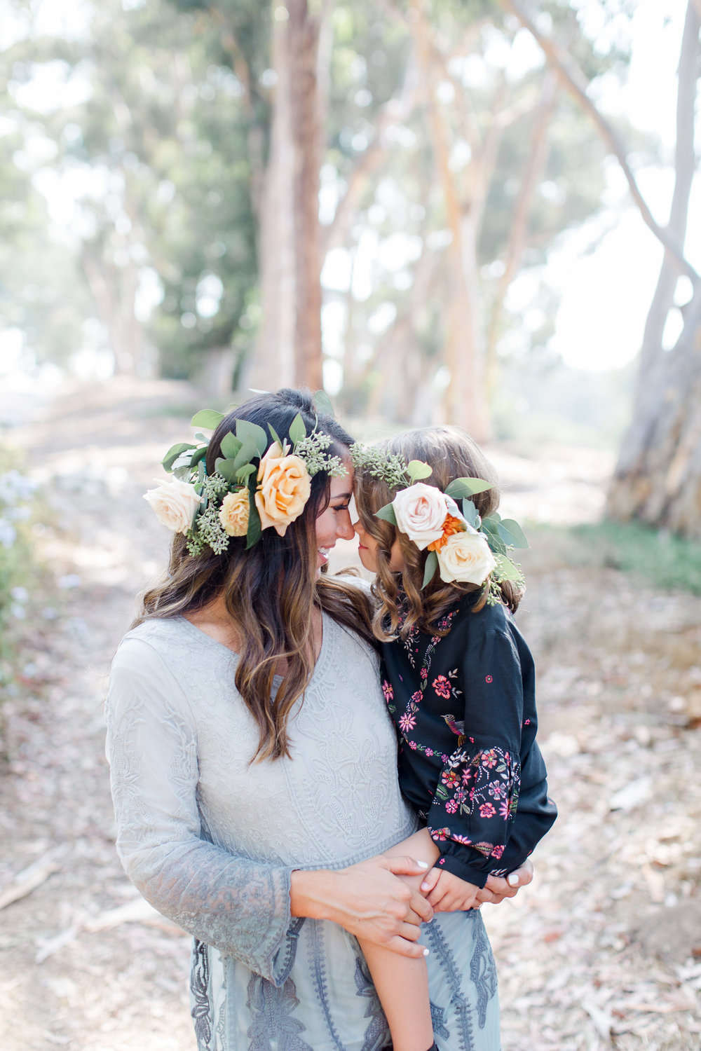 family photos with flower crowns