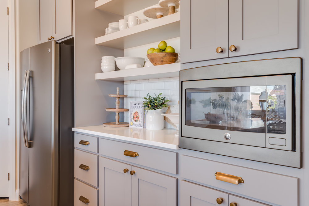 grey and gold kitchen design