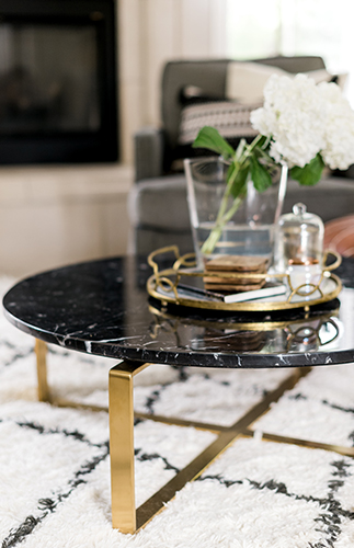 wayfarer black marble office coffee table