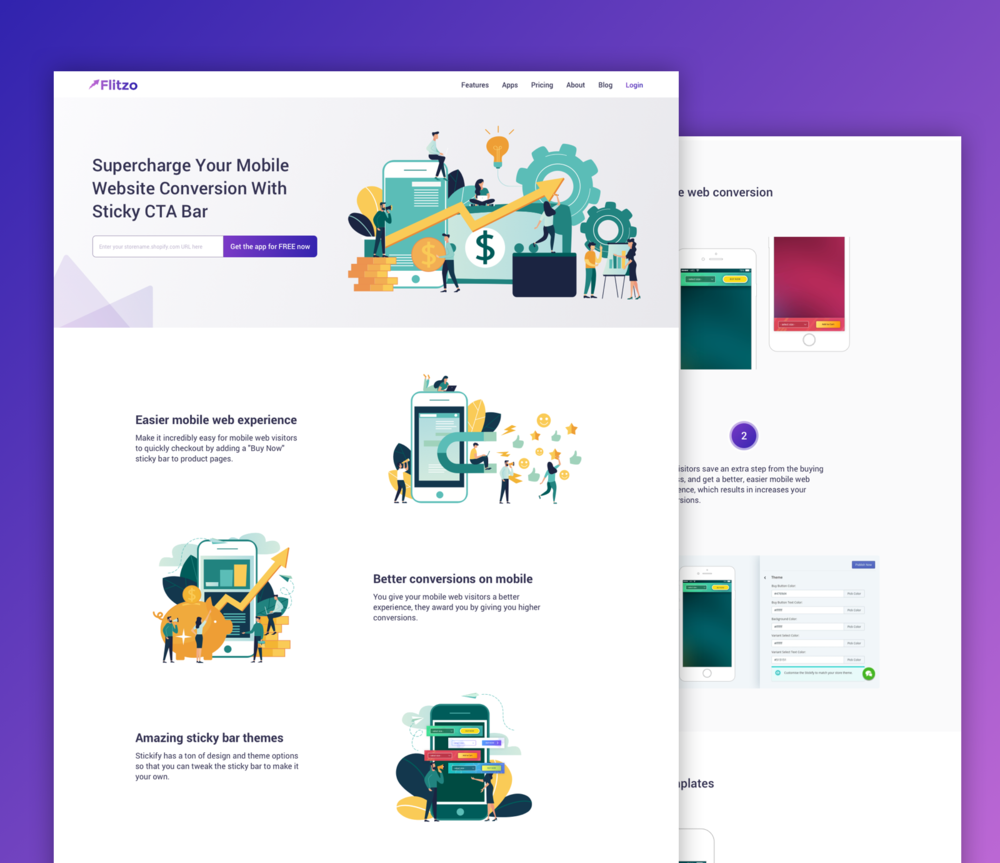Website Design for Flitzo Shopify App