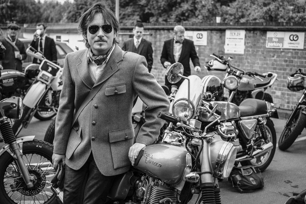 Richard Stow at the Distinguished Gentleman's Ride on the Royal Enfield.