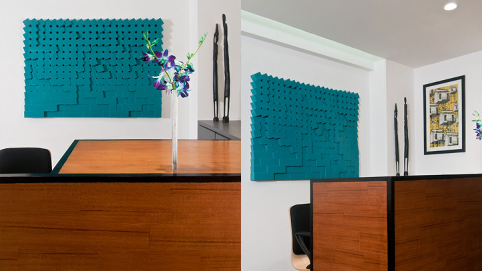 CUSTOM WALL ART + RECEPTION DESK DETAIL