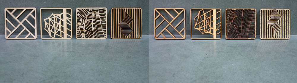 (L) Top surface of coaster prototypes and (R) Bottom surface of coaster prototypes.