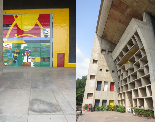 (L) Door detail at the Assembly building by Le Corbusier at Chandigarh. (R) High Court building by Le Corbusier at Chandigarh.