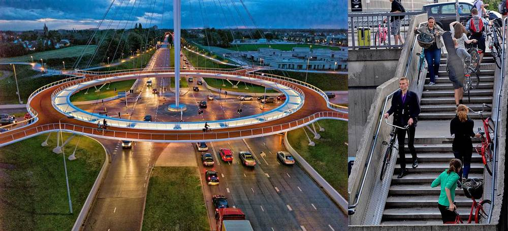 (L)  The Hovenring is a circular suspended bridge between Eindhoven and Veldhoven in the Netherlands, which offers an alternative route for cyclists.      Image courtesy: mymodernmet.com    (R) Staircase fitted with a bike rail at Copenhagen Central Train Station.    Image courtesy:    tumblr