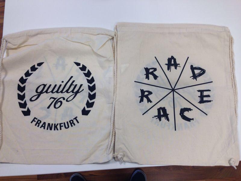 Das limitierte RAD RACEx GUILTY76 Gymsack gibts für jeden Starter!!!!