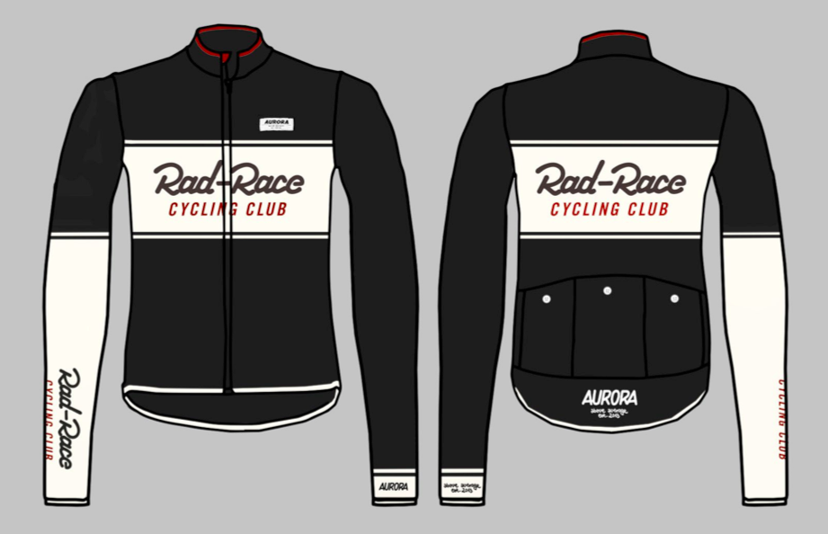 "The new RAD RACE x AURORA Cycling Jersey ""Cycling Club""!"