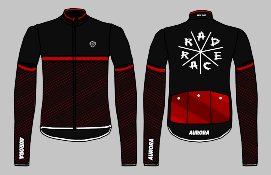 "The new winter jerseys made by RAD RACE x AURORA & produced by Cinelli in Italy ""Winter Stripes"""