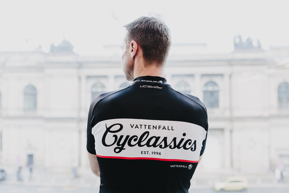 Jens Voigt in the 2015 Cyclassics Jersey, designed by RAD RACE.