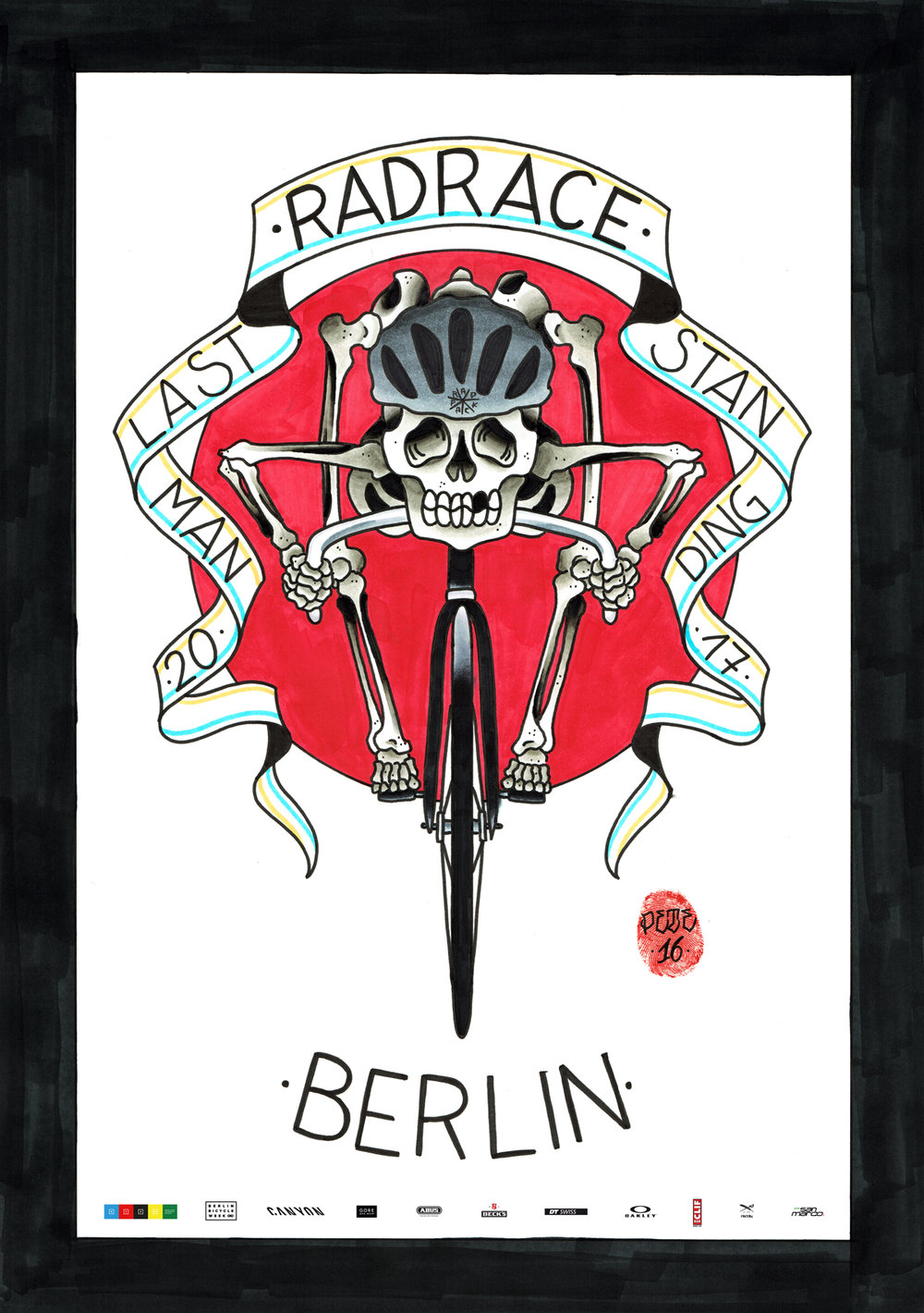 The official event poster // RAD RACE LAST MAN STANDING berliner fahrradschau 2017