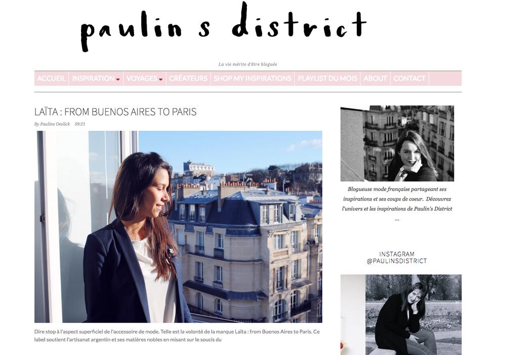 Blog: Pauline's District (cliquer pour lire l'article)