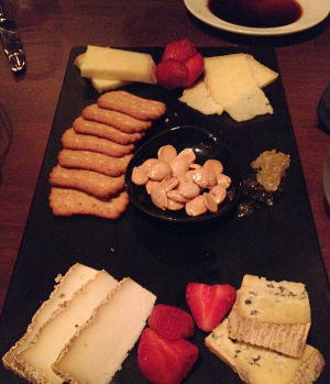The fruit and cheese board appetizer at Tutoni's