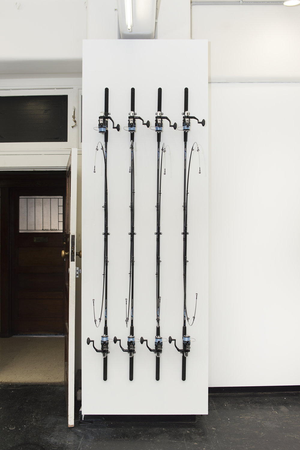 In-tension, fishing rods, 220 x 78 x 50 cm
