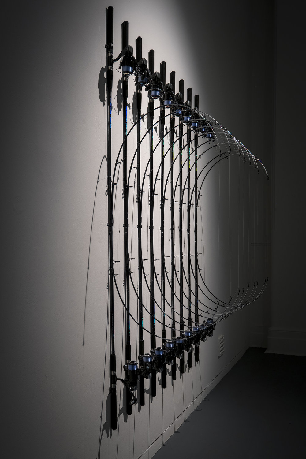 In-tension , 2016, fishing rods and line, 210 x 160 x 80 cm. Exhibited at Hatched: National Graduate Show 2017, Perth Institute of Contemporary Arts. Image: Alessandro Bianchetti.