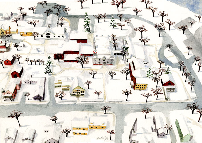 Winter in a Vermont small town