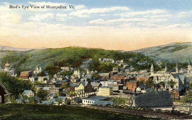 Bird's eye vintage view, Montpelier, Vermont