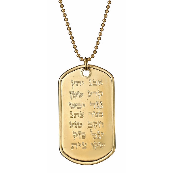 Ana Bekoach 24K Gold Plated Stainless Steel Dog Tag On Ball Chain