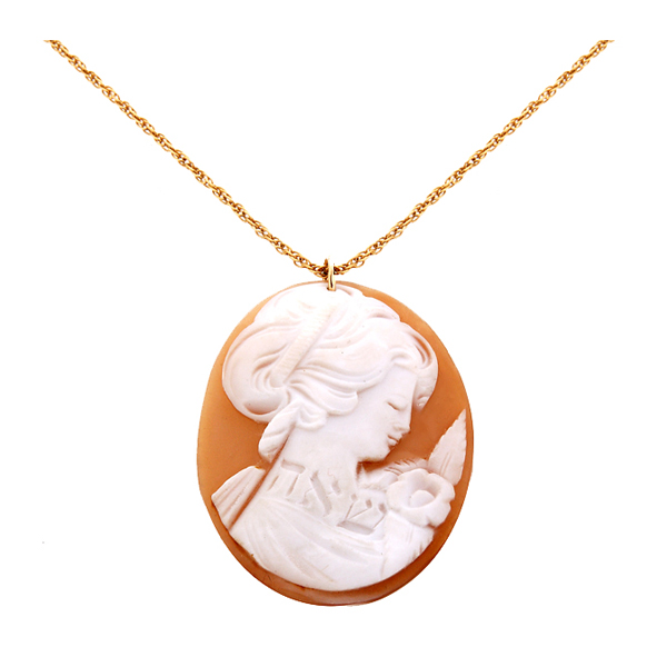 "Engraved Cameo on 14K gold chain,""Soulmate"""