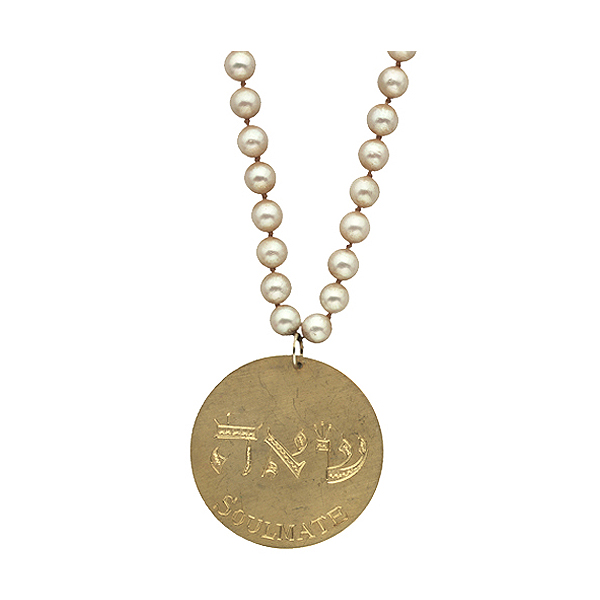 "Sterling silver medallion lightly plated in 24K gold on pearls, ""Soulmate"""