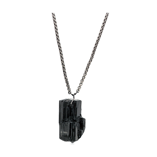"Black tourmaline engraved with astrological sign ""Gemini"" on titanium chain"