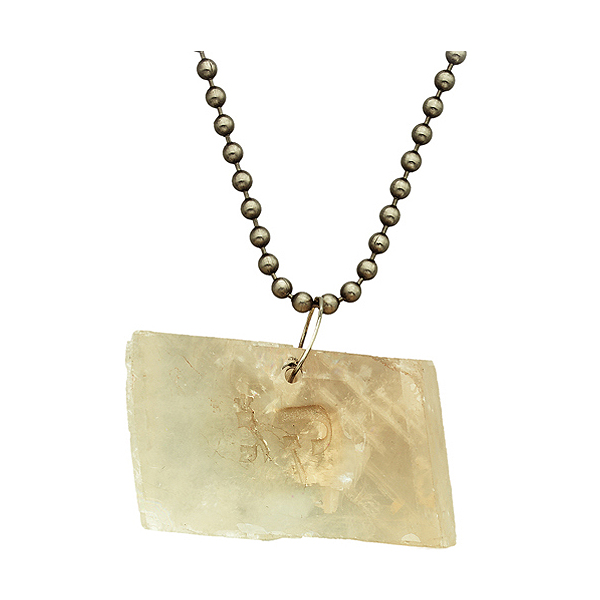 "Calcite on sterling silver chain engraved with astrological sign ""Libra"""