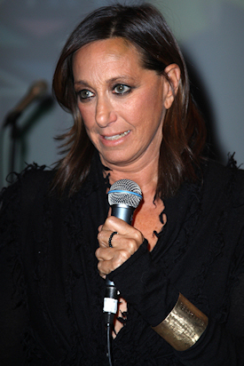 January 12, 2009: Donna Karan wearing 72 Names of God bronze cuff