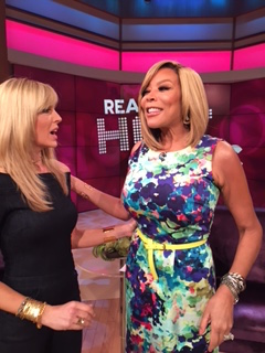 April 19, 2016: Marla Maples on The Wendy Williams Show wearing three jewelry pieces; gold chocker, two gold bracelets