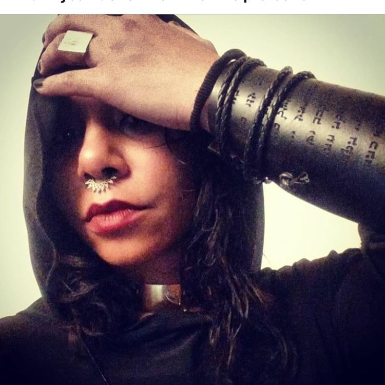 """Actress Jessica Pimentel from """"Orange is the New Black"""" wearing her new 72 Names of God leather cuff!"""