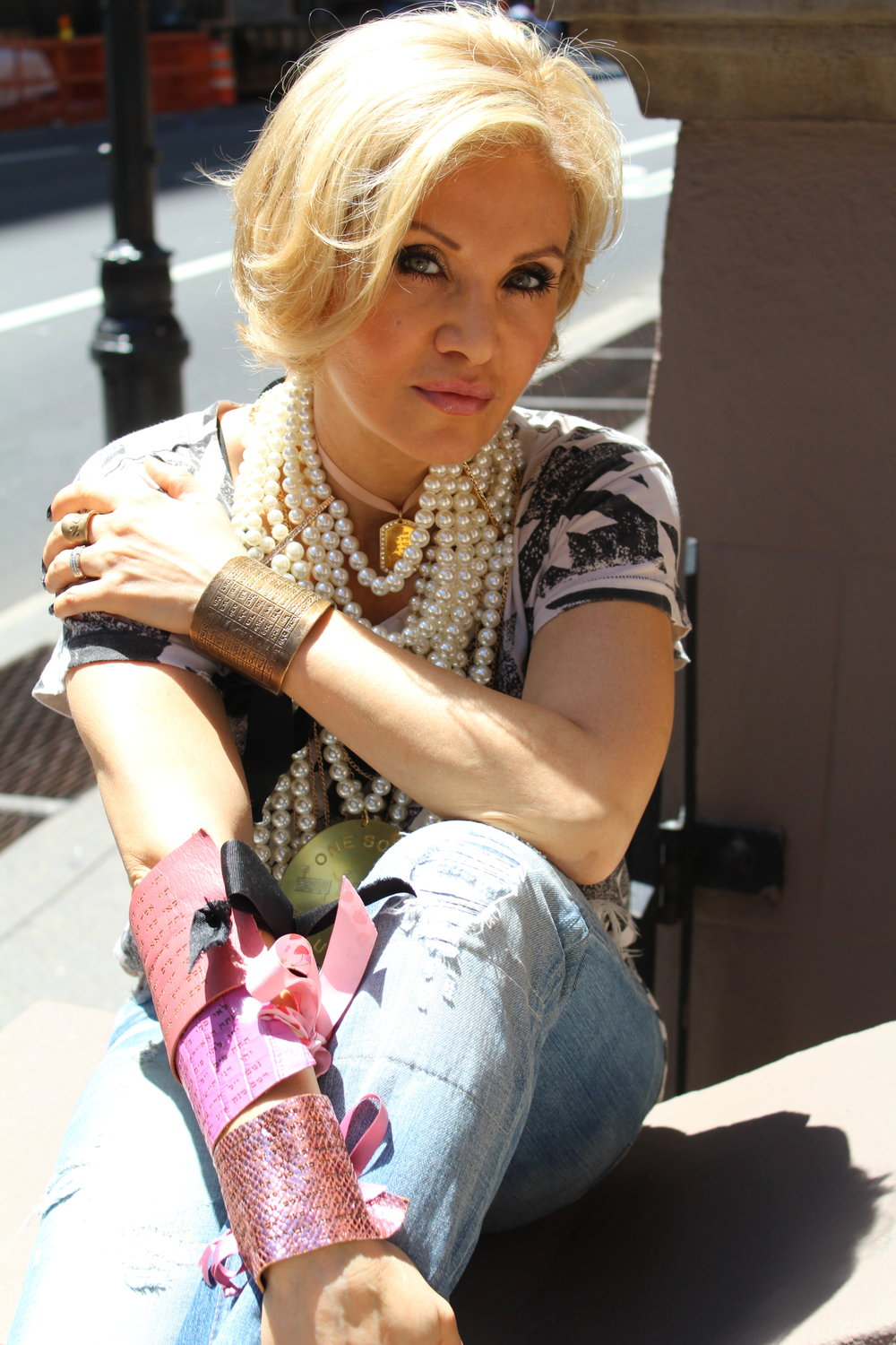Tony nominated actress, singer and songwriter from New York City, Orfeh, wearing our pink cuffs