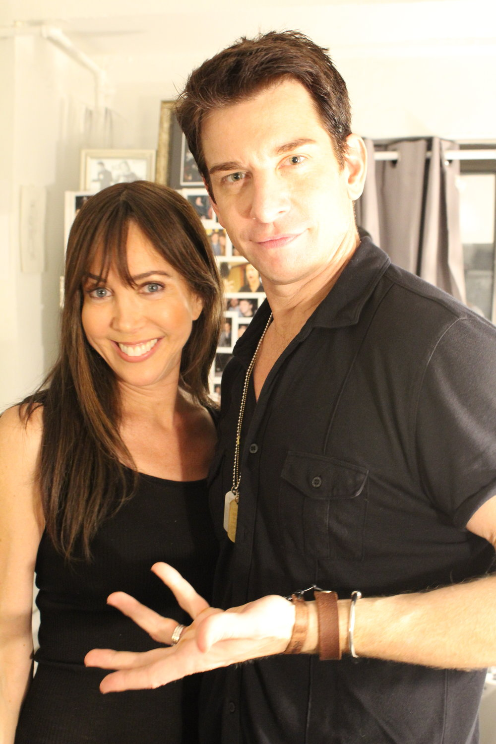 """Andy Karl, Olivier Award winning American stage, TV, and film actor backstage with Rachel after starring in Broadway show """"Groundhog Day"""""""