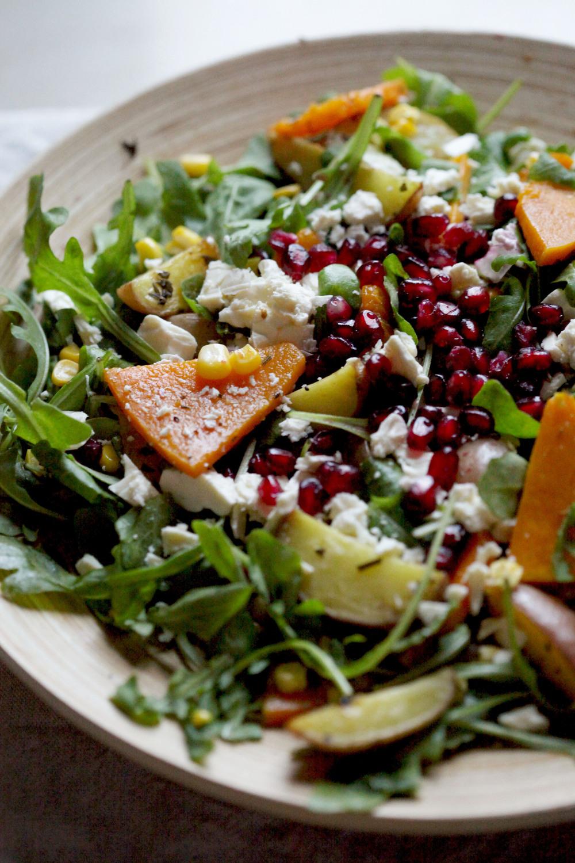 Rainy Day Rocket Salad of Roasted Squash, Corn, Potatoes and Feta
