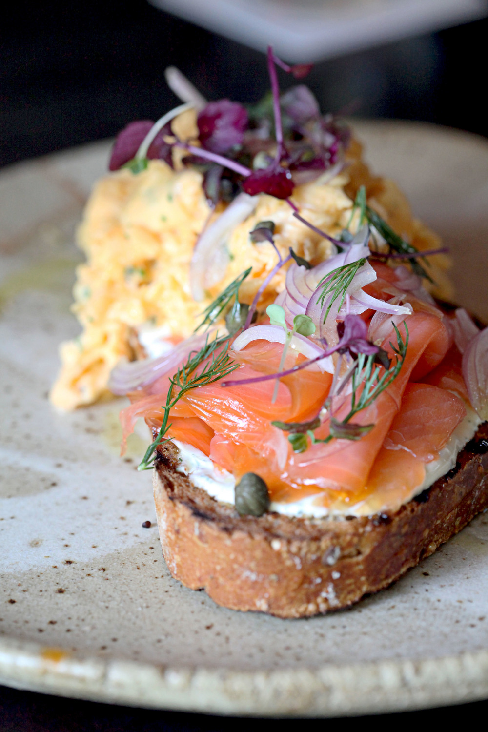 Smoked Salmon & Scrambled Eggs with Red Onions, Capers and Dill Cream Cheese