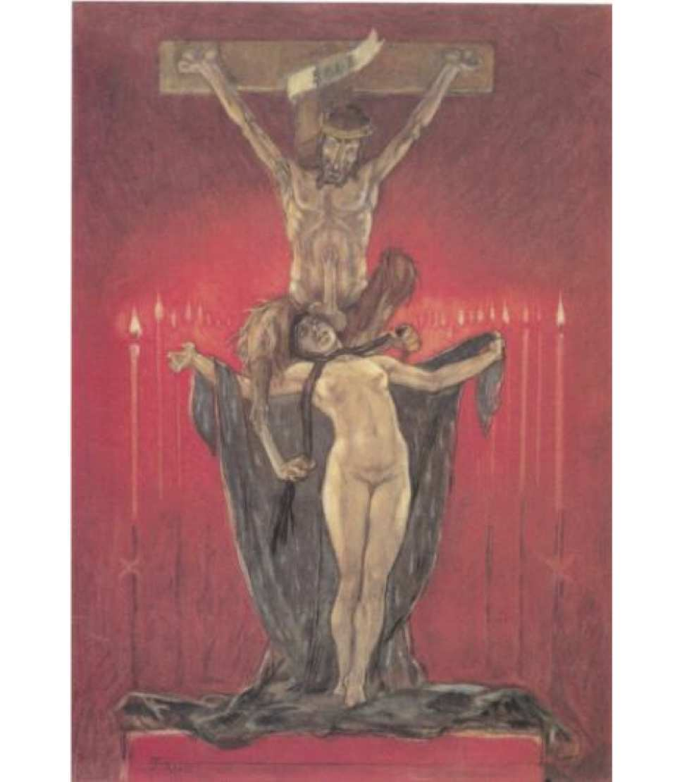"Fig. 1: Félicien Rops,  Calvary  ( Le Calvaire , from  Les Sataniques ), 1882                                  Normal     0                     false     false     false         EN-US     JA     X-NONE                                                                                                                                                                                                                                                                                                                                                                                                                                                                                                                                                                                                                                                                                                                                    /* Style Definitions */ table.MsoNormalTable 	{mso-style-name:""Table Normal""; 	mso-tstyle-rowband-size:0; 	mso-tstyle-colband-size:0; 	mso-style-noshow:yes; 	mso-style-priority:99; 	mso-style-parent:""""; 	mso-padding-alt:0in 5.4pt 0in 5.4pt; 	mso-para-margin:0in; 	mso-para-margin-bottom:.0001pt; 	mso-pagination:widow-orphan; 	font-size:12.0pt; 	font-family:Cambria; 	mso-ascii-font-family:Cambria; 	mso-ascii-theme-font:minor-latin; 	mso-hansi-font-family:Cambria; 	mso-hansi-theme-font:minor-latin;}"
