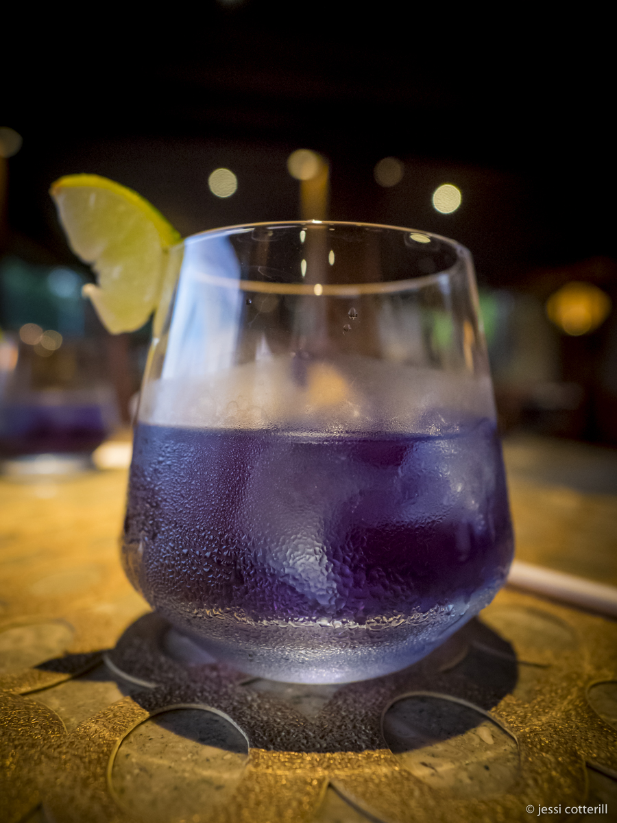 Welcome drink, butterfly pea juice