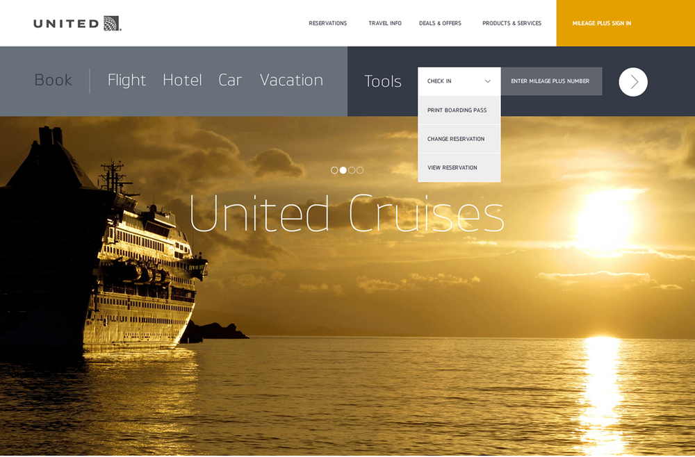 The main carousel rotates through promotional content. Also showing a modular approach to the navigation up top.