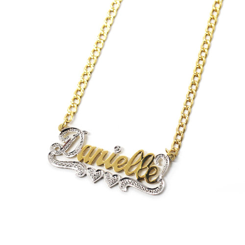 plate nameplate name b double with necklaces necklace hearts