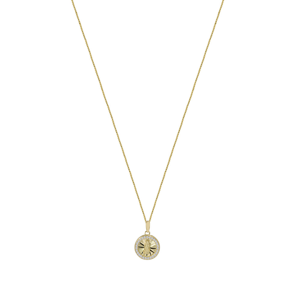 The Pave Circle Guadalupe Pendant Necklace in Metallic Gold The M Jewelers NY YM00ircW