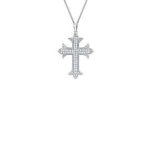 f4007619194645 THE PAVE' ORCHARD CROSS NECKLACE
